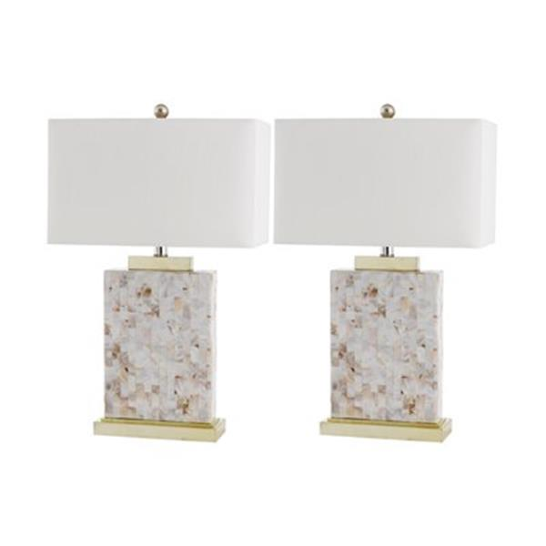 Safavieh 24.50-in Shell Troy Table Lamps (Set of 2)