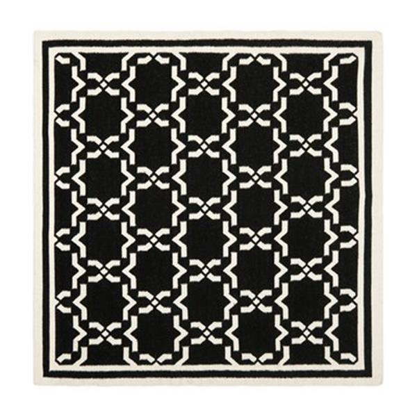 Safavieh Dhurries Black and Ivory Area Rug,DHU545L-6SQ