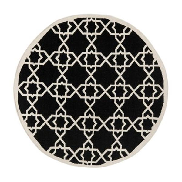 Safavieh DHU548L Dhurries Area Rug, Black / Ivory,DHU548L-6R