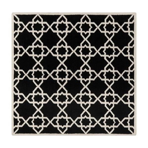 Safavieh DHU548L Dhurries Area Rug, Black / Ivory,DHU548L-6S
