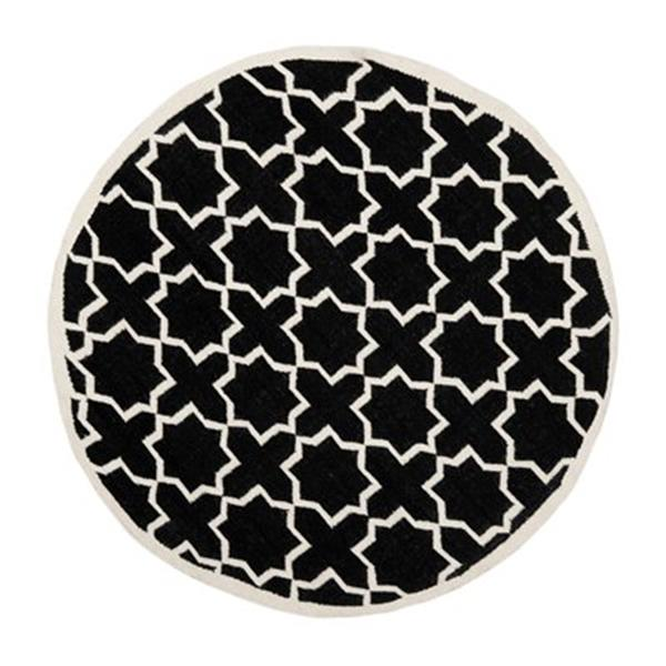 Safavieh Dhurries Black and Ivory Area Rug,DHU549L-6R