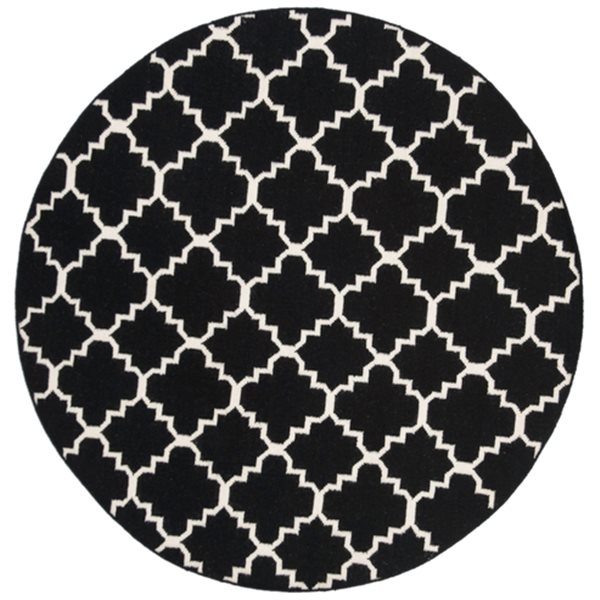 Safavieh Dhurries Black and Ivory Area Rug,DHU554L-6R
