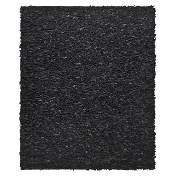 Safavieh LSG511A Leather Shag Area Rug, Black,LSG511A-5