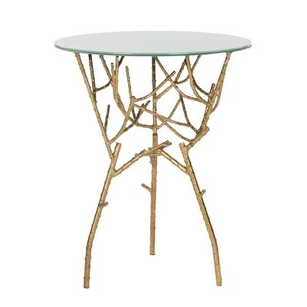 Safavieh Fox 22.5-in Gold/White Glass Tara Accent Table