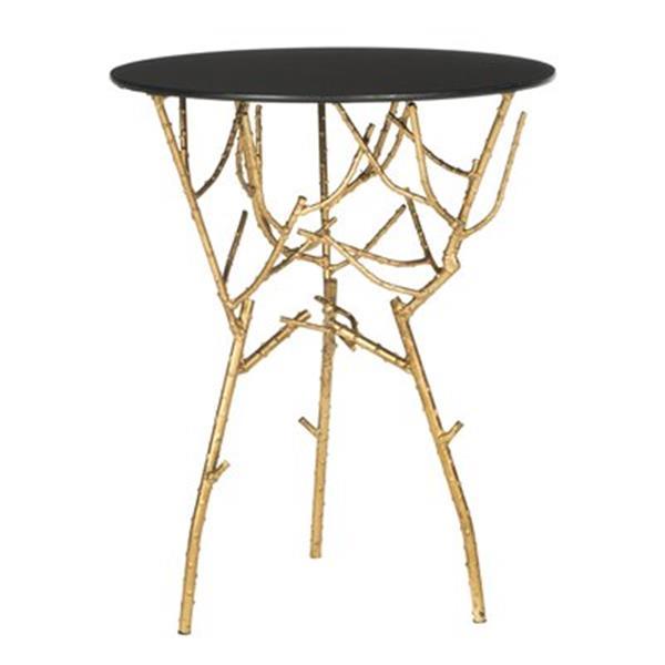 Safavieh Fox 22.5-in Gold/Black Glass Tara Accent Table