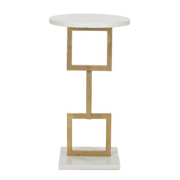 Safavieh Cassidy 23.2-in Gold/White Marble Accent Table