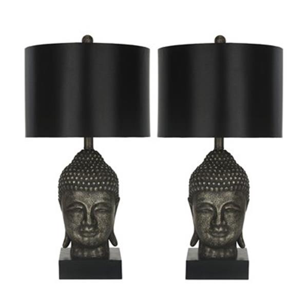Safavieh 24.50-in Black/Gold Buddha Table Lamps (Set of 2)