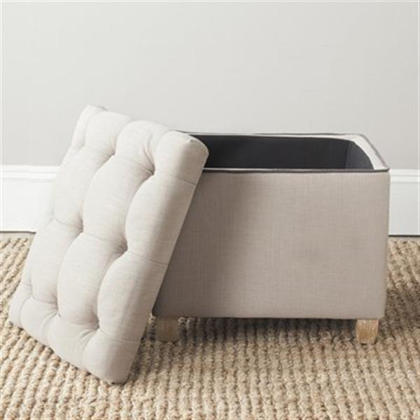Safavieh Joanie 18.10-in x 19.10-in True Taupe Polyester Ottoman