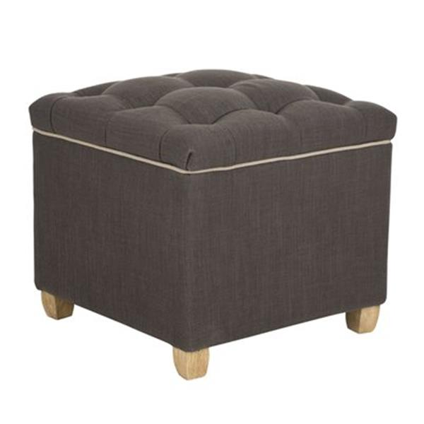 Safavieh Joanie 18.10-in x 19.10-in Charcoal Brown Polyester Ottoman