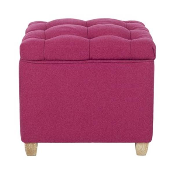 Safavieh Joanie 18.10-in x 19.10-in Polyester Berry Ottoman