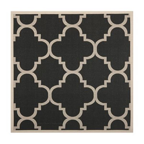 Safavieh Courtyard Black and Beige Area Rug,CY6243-266-8SQ