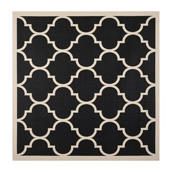 Safavieh Courtyard Black and Beige Area Rug,CY6914-266-8SQ