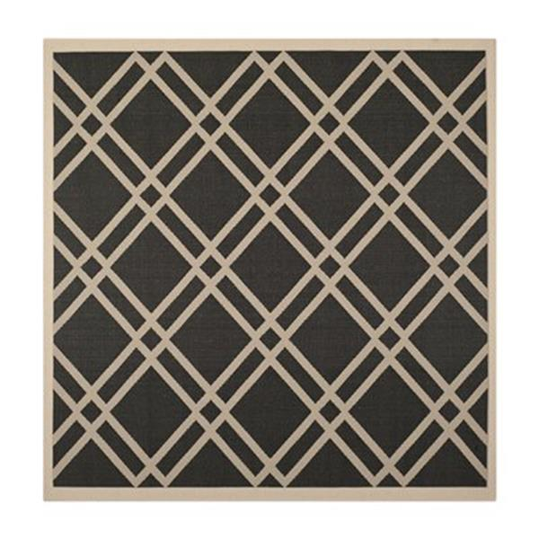 Safavieh Courtyard Black and Beige Area Rug,CY6923-266-8SQ