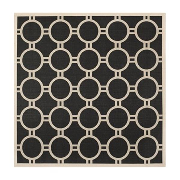 Safavieh Courtyard Black and Beige Area Rug,CY6924-266-8SQ