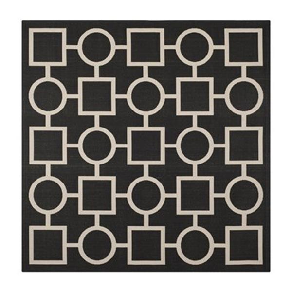Safavieh Courtyard Black and Beige Area Rug,CY6925-266-8SQ