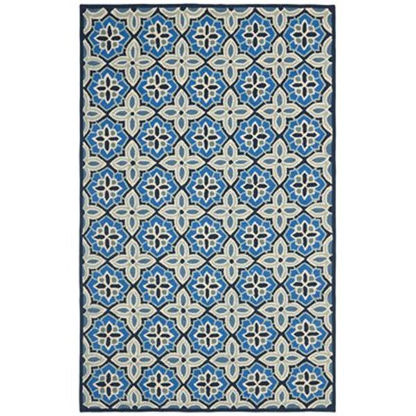 Safavieh Four Seasons Geometric Blue 96-in x 60-in Indoor/Outdoor Area Rug