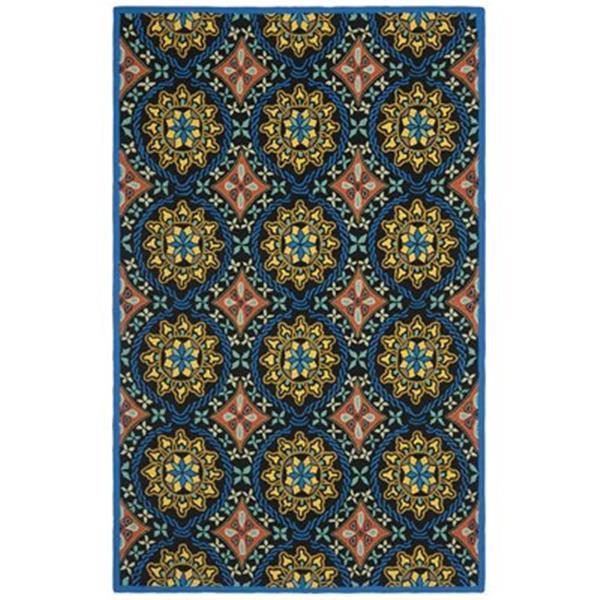 Safavieh Four Seasons Black/Blue 96-in x 60-in Indoor/Outdoor Area Rug