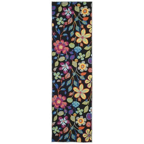 Safavieh Four Seasons Black/Multi Floral 96-in x 60-in Indoor/Outdoor Area Rug