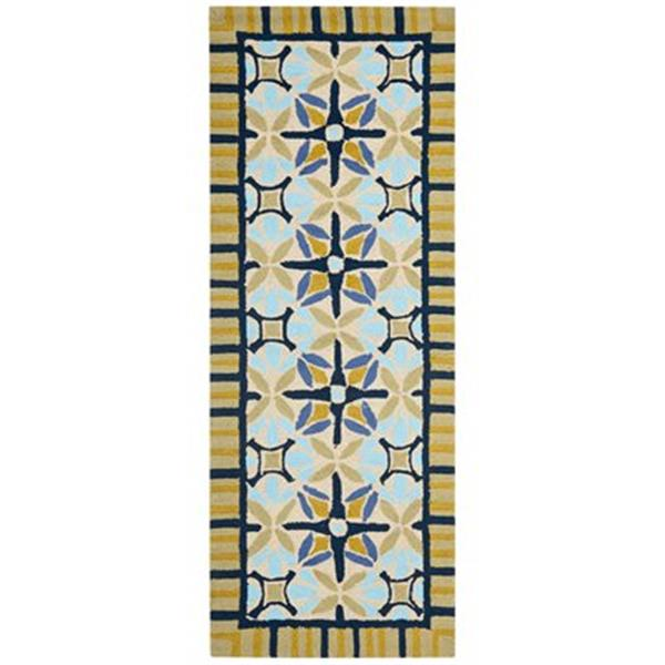 Safavieh Four Seasons 5 ft x 8 ft Tan and Blue Area Rug