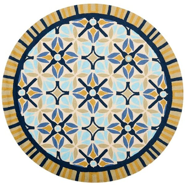 Safavieh Four Seasons 6 ft x 6 ft Tan and Blue Area Rug