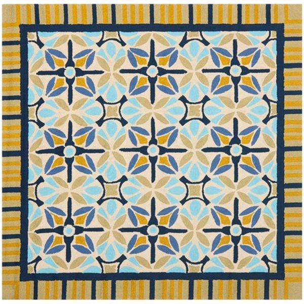 Safavieh Four Seasons 6 ft x 6 ft Blue and Tan Area Rug
