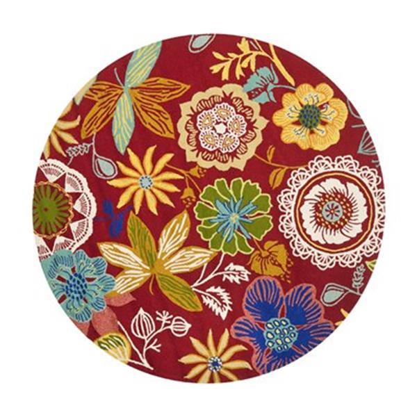 Safavieh Four Seasons Round Red and Multi Area Rug