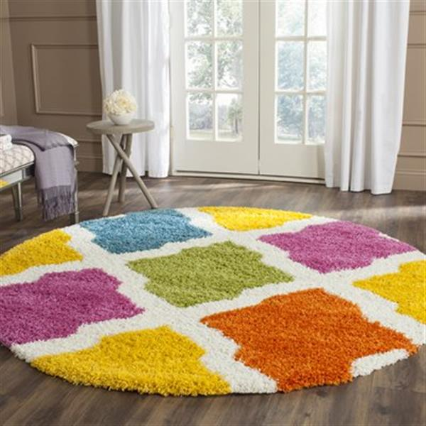 Safavieh Kids Shag Ivory and Multi-Colored Area Rug,SGK562A-