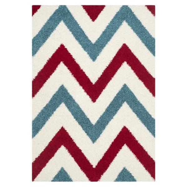 Safavieh Kids Shag Ivory and Red Area Rug,SGK564B-5