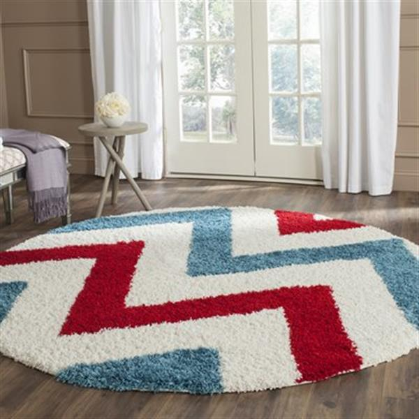 Safavieh Kids Shag Ivory and Red Area Rug,SGK564B-7R