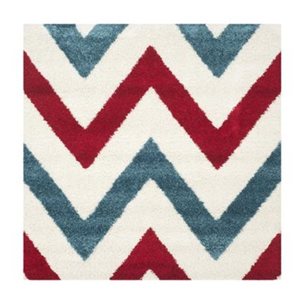 Safavieh Kids Shag Ivory and Red Area Rug,SGK564B-7SQ