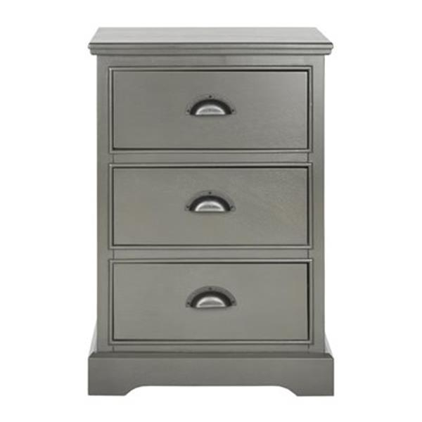 Safavieh American Home Warm Grey Grififn 3 Drawer Side Table