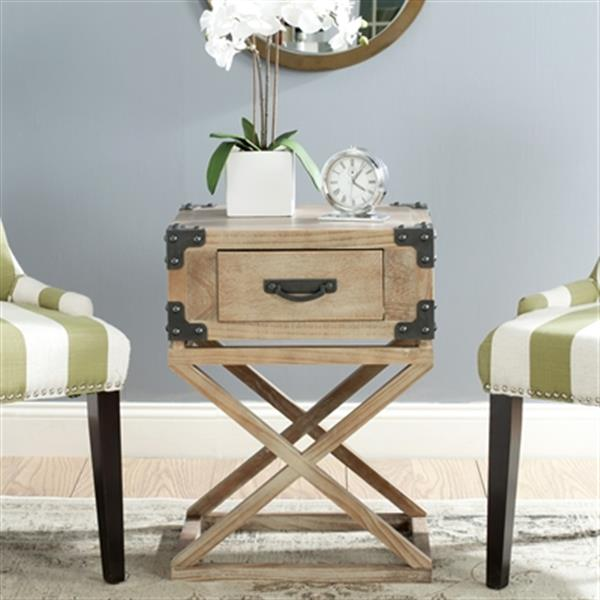 Safavieh American Home 25.6-in Washed Natural Pine Dunstan Accent Table