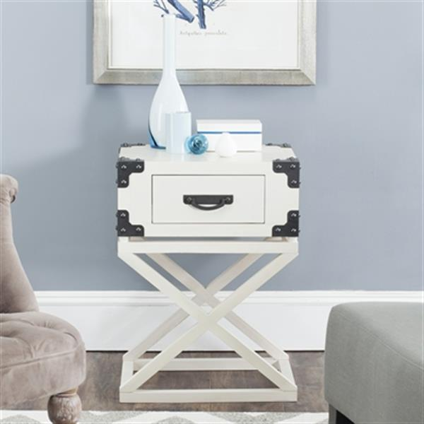 Safavieh American Home 25.6-in White Dunstan Accent Table
