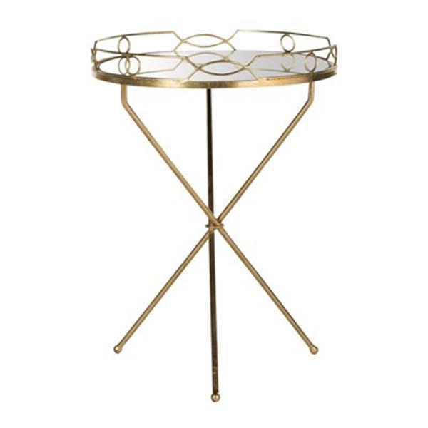 Safavieh Fox 22.5-in Gold/Mirror Cherris Round End Table