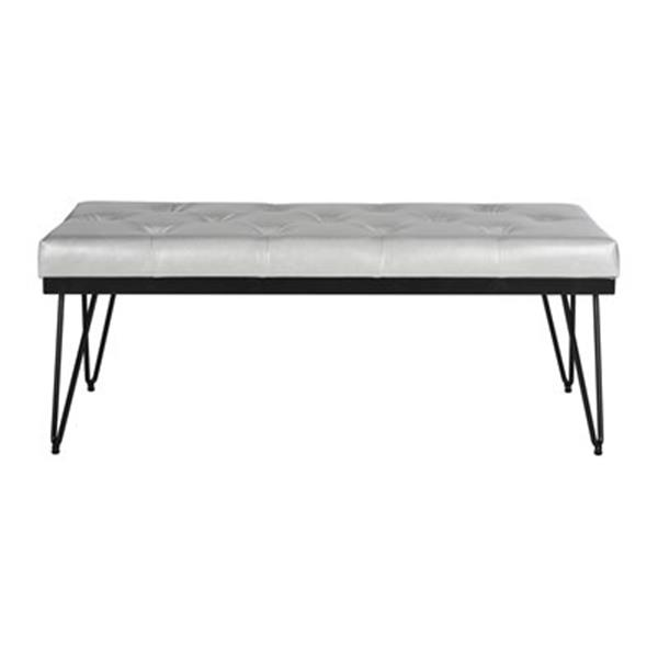 Safavieh Fox Marcella 18-in x 46.8-in Grey Faux Leather Bench