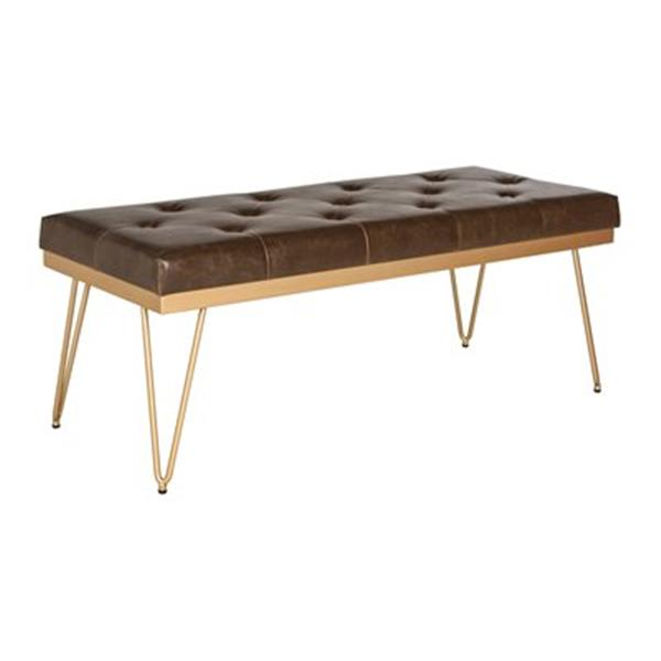 Safavieh Fox Marcella 18-in x 46.8-in Gold Faux Leather Bench