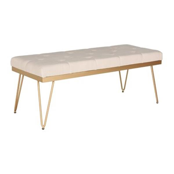 Safavieh Fox Marcella 18-in x 46.8-in Beige Linen Bench