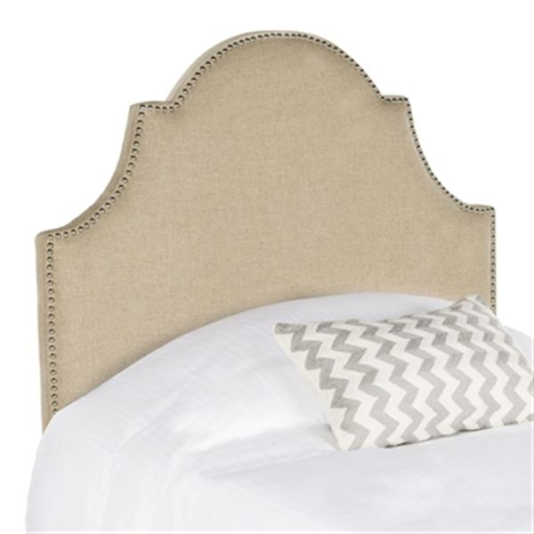 Safavieh Hallmar 4.5-ft x 3.4-ft Hemp Linen Arched Twin Headboard With Silver Nailhead Trim