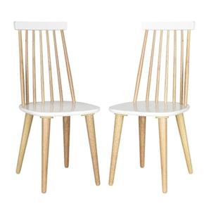Safavieh Burris 36-in Natural/White Spindle Side Chair (Set of 2)