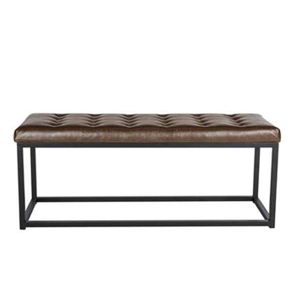 Safavieh Reynolds 19-in x 48-in Brown Faux Leather Bench