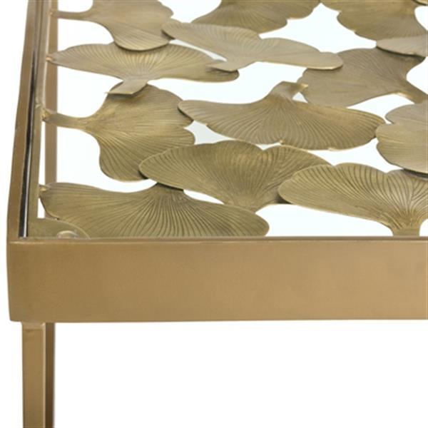 Safavieh Lilian 20-in Antique Brass Leaf Side Table