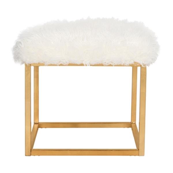 Safavieh Rowan Contemporary 20.00-in x 21.00-in White Glam Faux Sheepkin