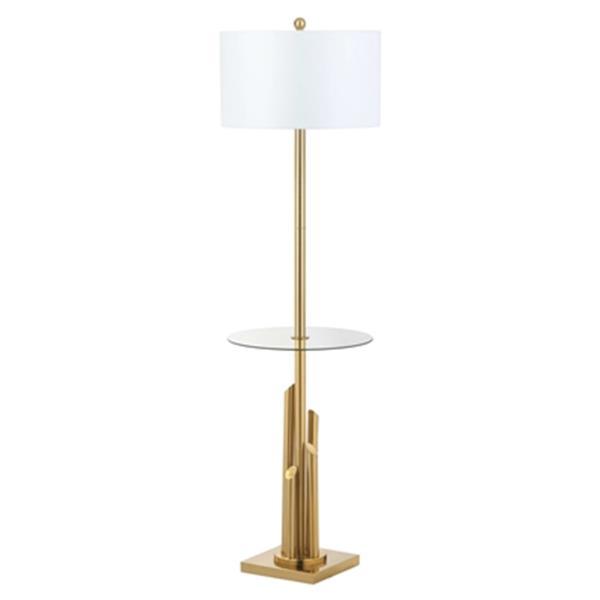 Safavieh 61.0-in Brass Ambrosio Floor Lamp Side Table