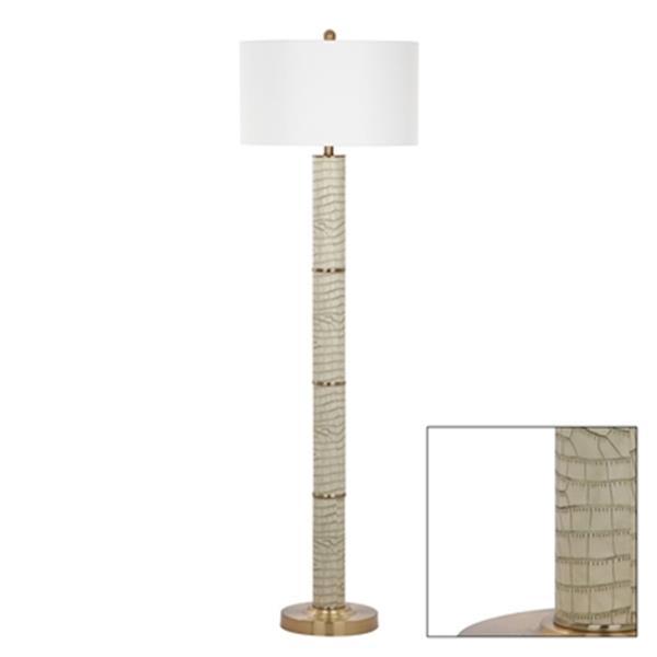 Safavieh 60.5-in Cream Marcello Faux Crocodile Floor Lamp