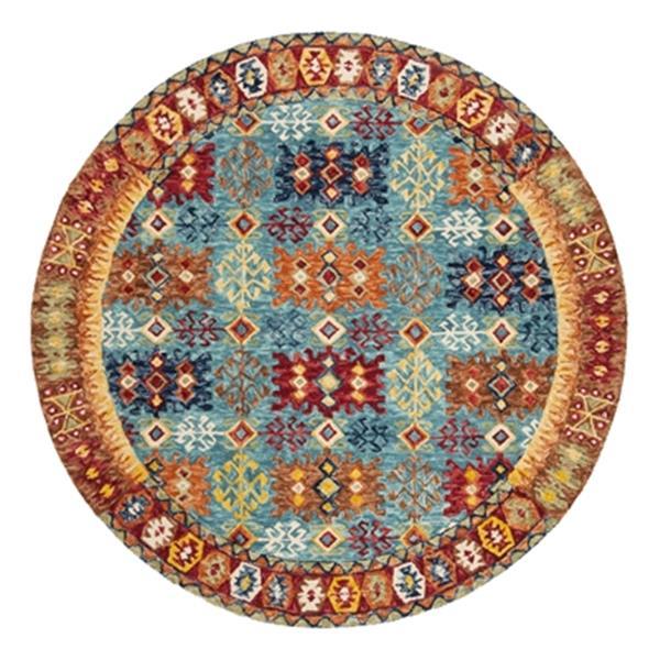 Safavieh Aspen Blue, Red and Orange Hand Tufted Area Rug,APN