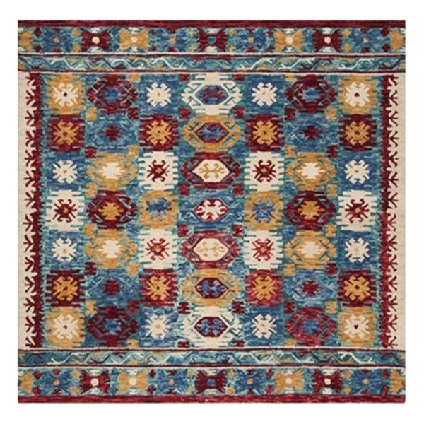Safavieh Aspen Blue and Red Hand Tufted Area Rug,APN505A-7SQ