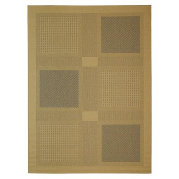 Safavieh Courtyard 8-ft x 11-ft Gold/Cream Loomed Block Indoor/Outdoor Area rug