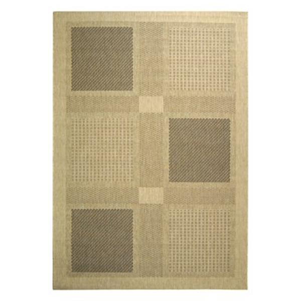 Safavieh Courtyard 8-ft x 11-ft Brown/Cream Loomed Block Indoor/Outdoor Area rug