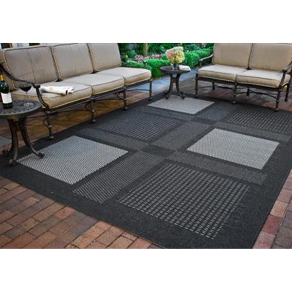 Safavieh Courtyard 8-ft x 11-ft Green/Black Block Indoor/Outdoor Area rug