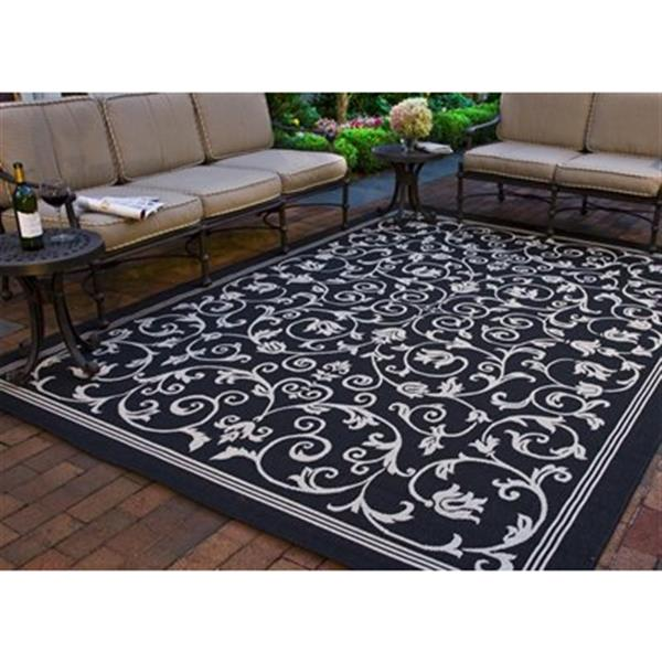 Safavieh Courtyard 8-ft x 11-ft Black Geometric Indoor/Outdoor Area rug